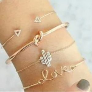 Four Piece Love and Cactus Gold Bracelet Set